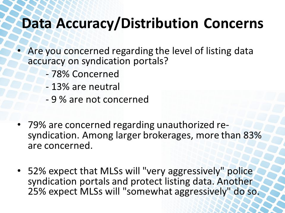 Data Accuracy/Distribution Concerns Are you concerned regarding the level of listing data accuracy on syndication portals? - 78% Concerned - 13% are n