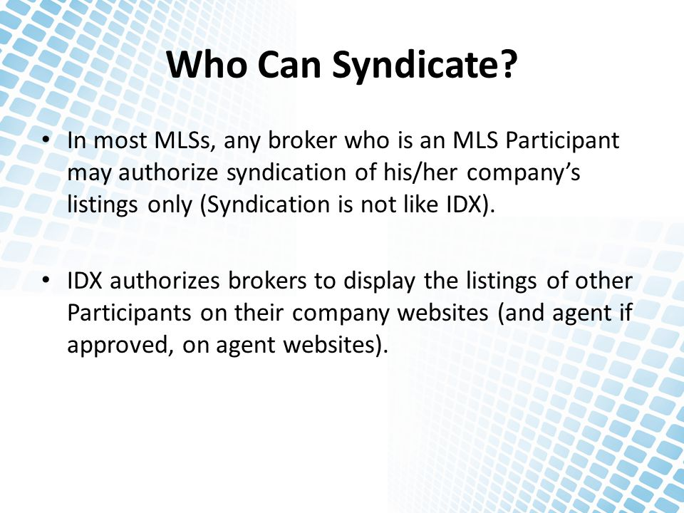 Who Can Syndicate.