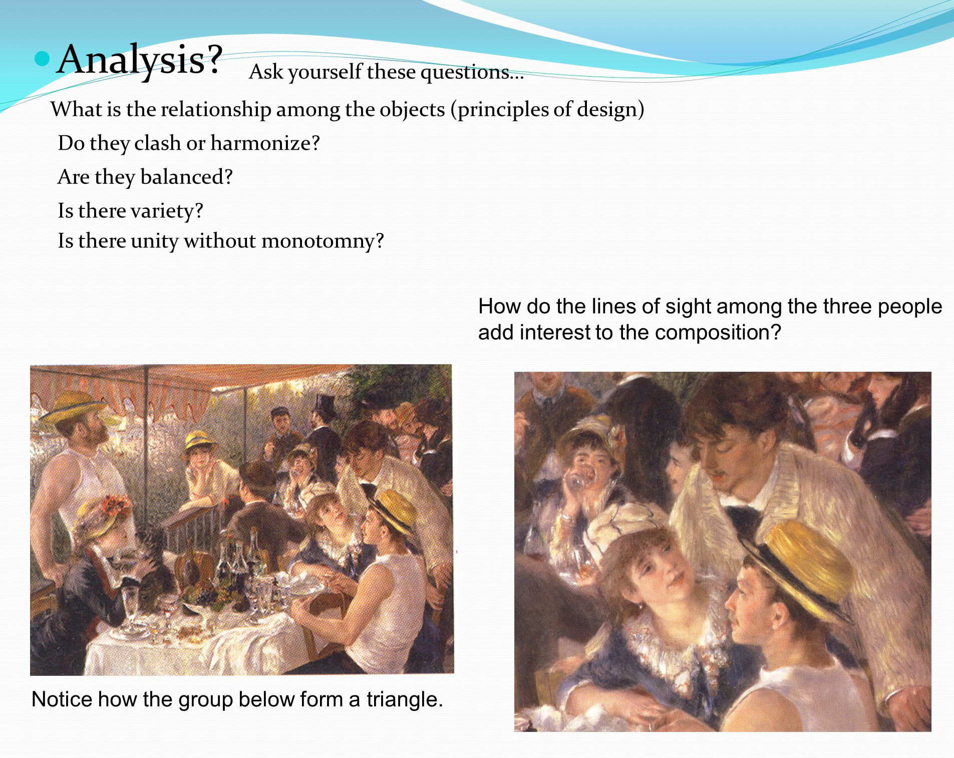 Art criticism a systematic discussion of the characteristics of an art work, usually involving four stages: description analysis interpretation and judgment What will you be describing as you analyze the composition of an artwork.