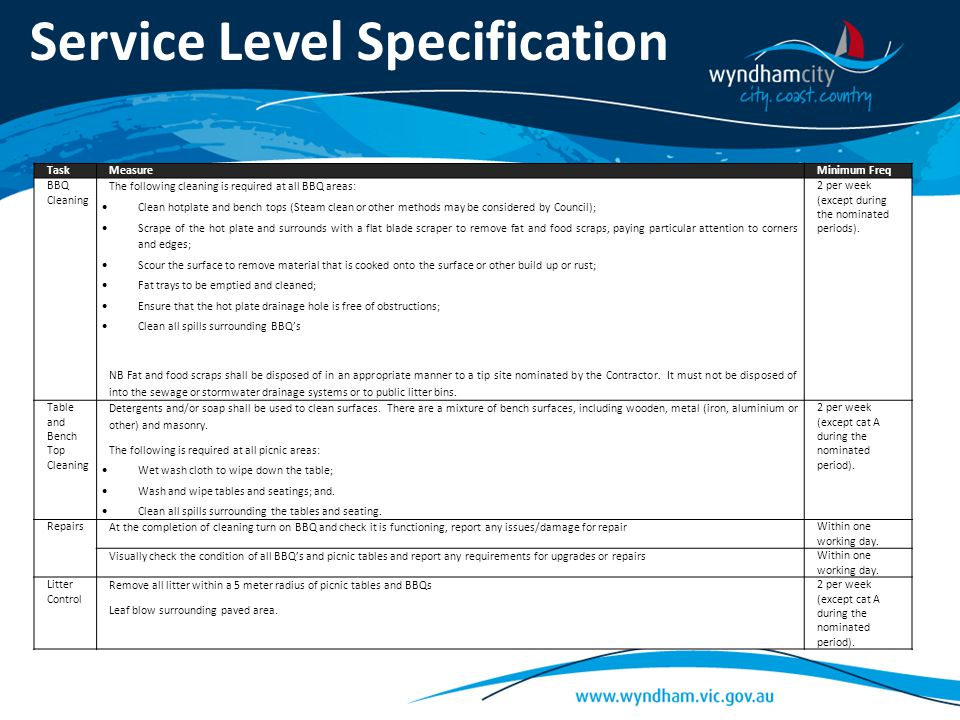 Service Level Specification TaskMeasureMinimum Freq BBQ Cleaning The following cleaning is required at all BBQ areas:  Clean hotplate and bench tops