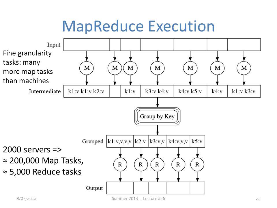 MapReduce Execution 8/07/201325 Fine granularity tasks: many more map tasks than machines 2000 servers => ≈ 200,000 Map Tasks, ≈ 5,000 Reduce tasks Su