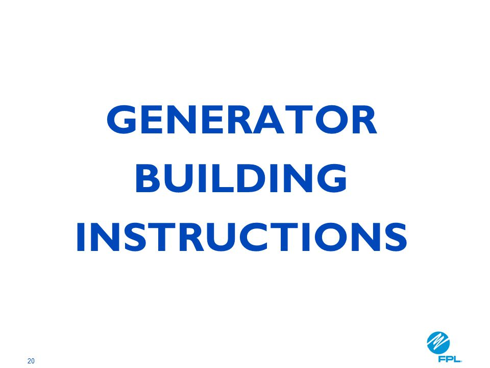 20 GENERATOR BUILDING INSTRUCTIONS