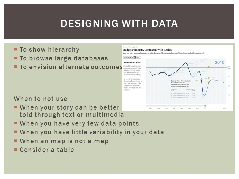  To show hierarchy  To browse large databases  To envision alternate outcomes When to not use  When your story can be better told through text or multimedia  When you have very few data points  When you have little variability in your data  When an map is not a map  Consider a table DESIGNING WITH DATA