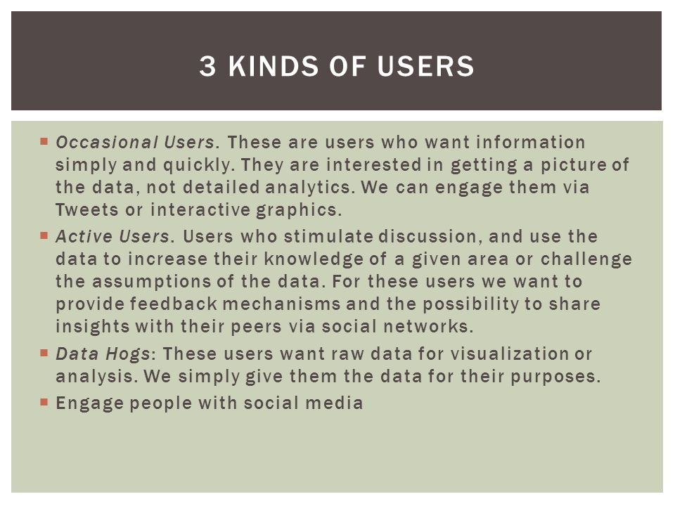  Occasional Users. These are users who want information simply and quickly.