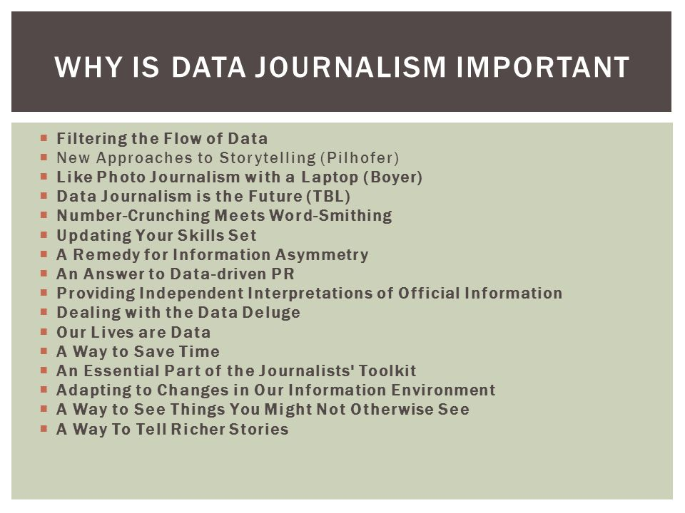  Filtering the Flow of Data  New Approaches to Storytelling (Pilhofer)  Like Photo Journalism with a Laptop (Boyer)  Data Journalism is the Future