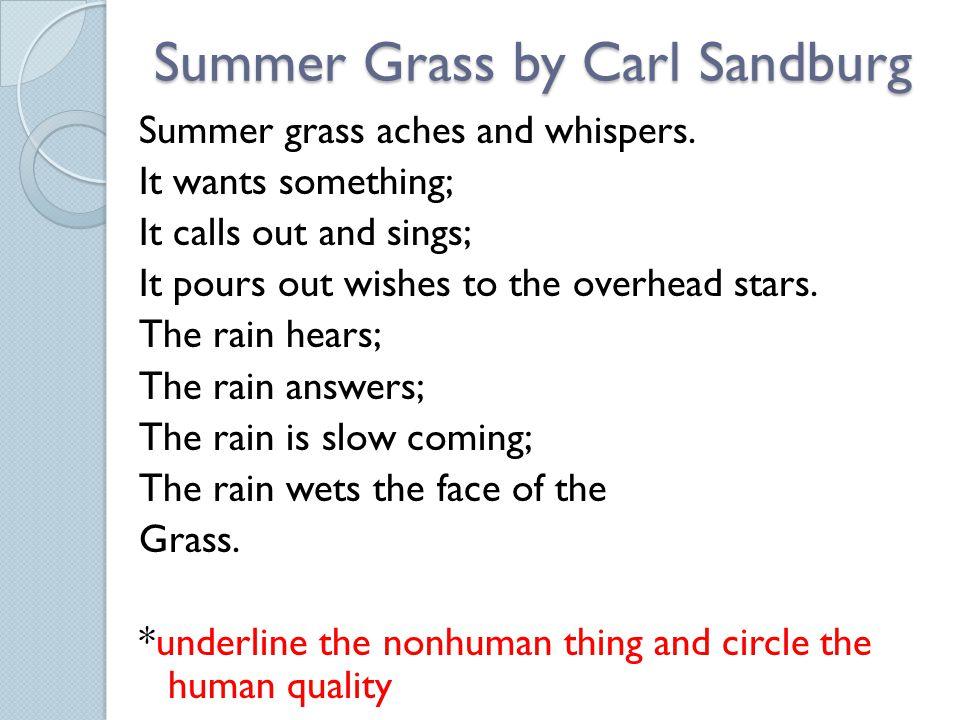 Summer Grass by Carl Sandburg Summer grass aches and whispers.