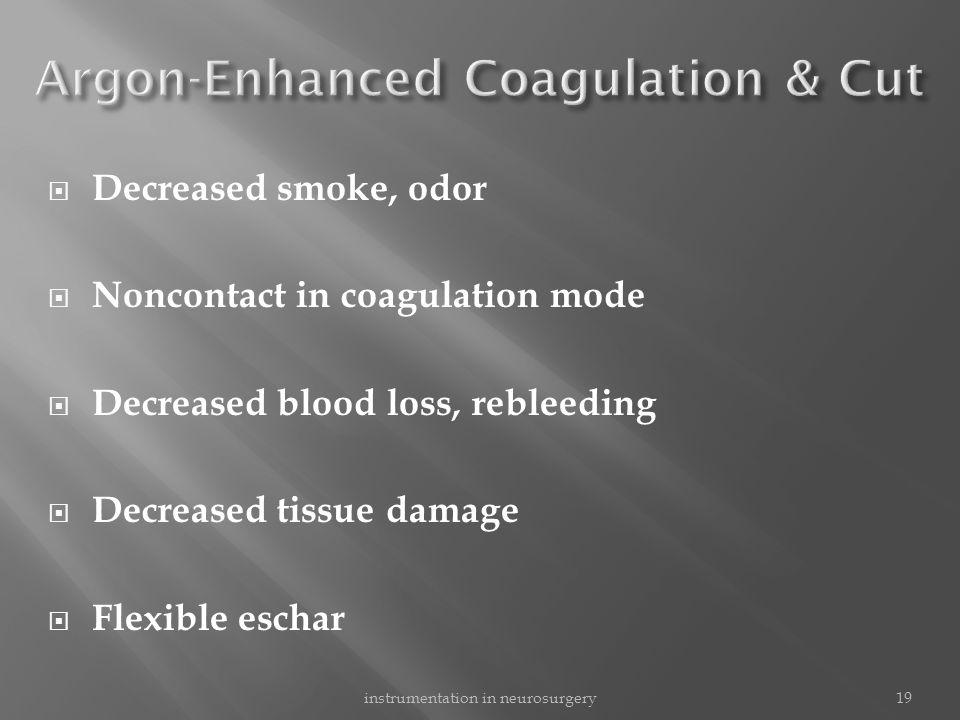  Decreased smoke, odor  Noncontact in coagulation mode  Decreased blood loss, rebleeding  Decreased tissue damage  Flexible eschar 19instrumentat