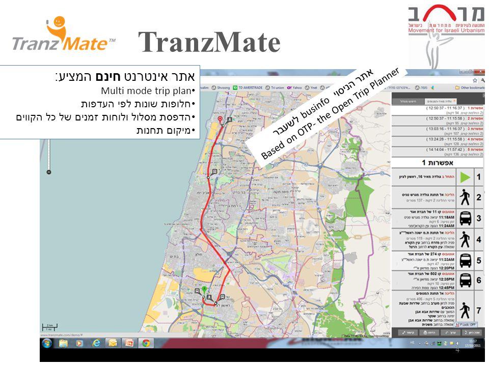 TranzMate 4 אתר אינטרנט חינם המציע : Multi mode trip plan חלופות שונות לפי העדפות הדפסת מסלול ולוחות זמנים של כל הקווים מיקום תחנות אתר הניסוי businfo לשעבר Based on OTP- the Open Trip Planner