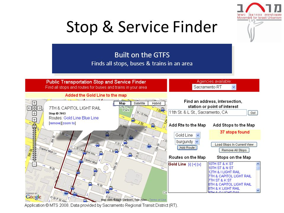 Built on the GTFS Finds all stops, buses & trains in an area Built on the GTFS Finds all stops, buses & trains in an area Stop & Service Finder
