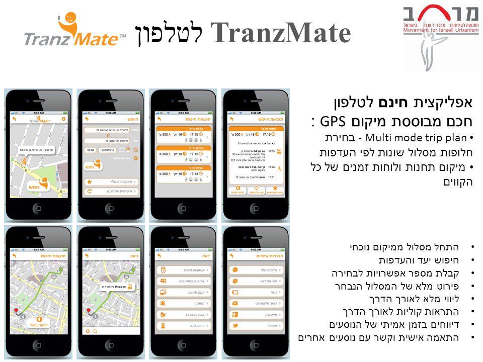 TranzMate לטלפון 5 התחל מסלול ממיקום נוכחי חיפוש יעד והעדפות קבלת מספר אפשרויות לבחירה פירוט מלא של המסלול הנבחר ליווי מלא לאורך הדרך התראות קוליות לאורך הדרך דיווחים בזמן אמיתי של הנוסעים התאמה אישית וקשר עם נוסעים אחרים אפליקצית חינם לטלפון חכם מבוססת מיקום GPS : - Multi mode trip plan בחירת חלופות מסלול שונות לפי העדפות מיקום תחנות ולוחות זמנים של כל הקווים