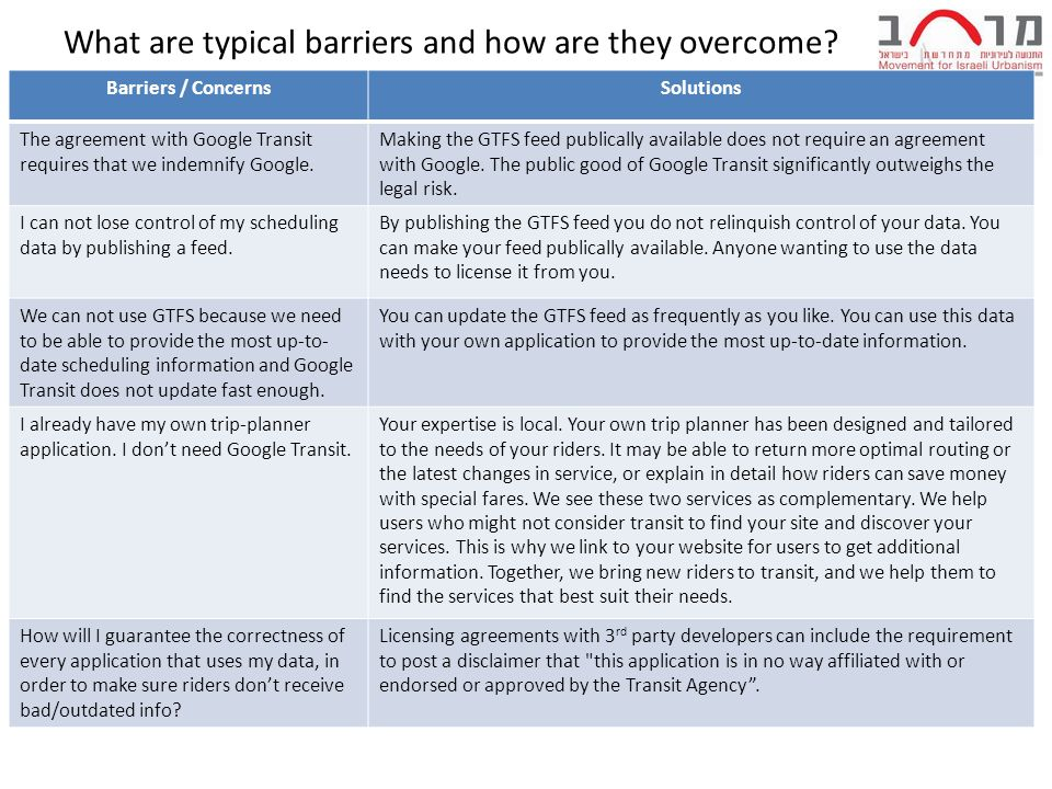 What are typical barriers and how are they overcome.