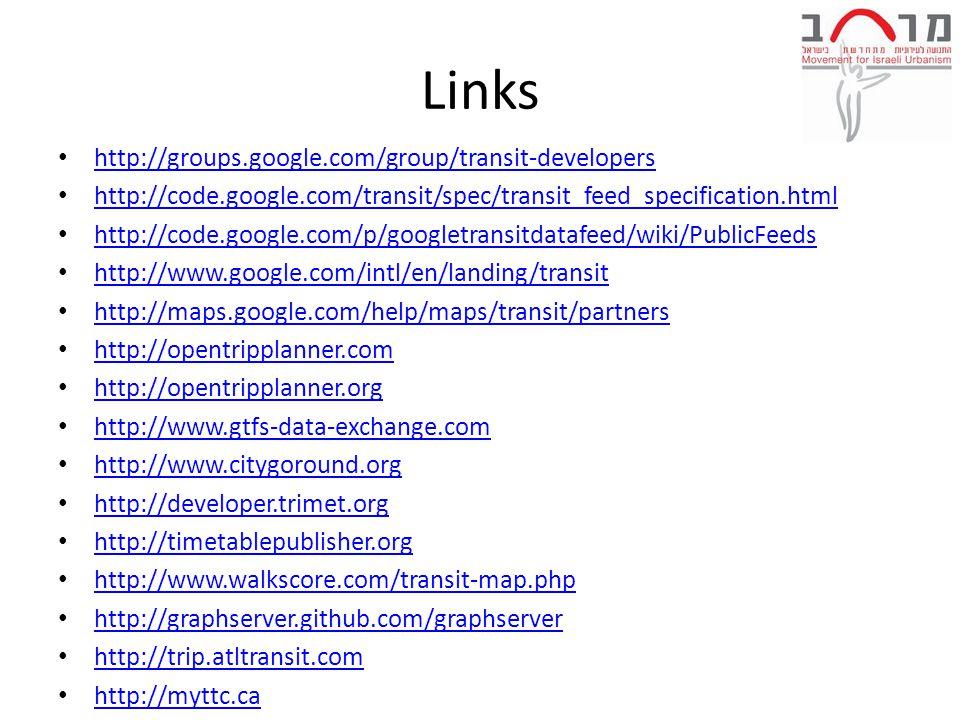 Links http://groups.google.com/group/transit-developers http://code.google.com/transit/spec/transit_feed_specification.html http://code.google.com/p/googletransitdatafeed/wiki/PublicFeeds http://www.google.com/intl/en/landing/transit http://maps.google.com/help/maps/transit/partners http://opentripplanner.com http://opentripplanner.org http://www.gtfs-data-exchange.com http://www.citygoround.org http://developer.trimet.org http://timetablepublisher.org http://www.walkscore.com/transit-map.php http://graphserver.github.com/graphserver http://trip.atltransit.com http://myttc.ca