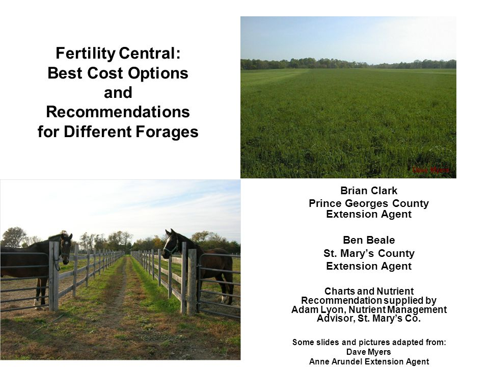 Fertility Central: Best Cost Options and Recommendations for Different Forages Brian Clark Prince Georges County Extension Agent Ben Beale St. Mary's