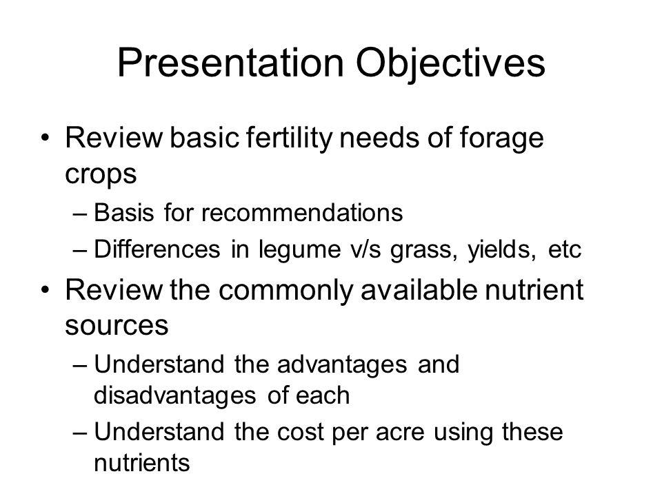 Alfalfa Fertilization Budget Dairy/Beef Manure Scenario: Soil test results: K-medium, P-medium; Yield Goal -6 tons Unit lbs/Acre Total $/Acre Manure (on-farm) 15 tons/acre 0.00 Nitrogen 45 (0) 0.00 Phosphorus 105 (80) 0.00 Potassium240 (250) 0.00 Manure & Fertilizer Costs 0.00 Manure/Fertilizer Application Costs: Manure cleanout 1.00/ton 15.00 Manure spreading15 ton/acre 22.00 Fertilizer spreading 0 Manure Application Costs 37.00 Manure Fertilization Grand Total $ 37.00 Acre (*) Amount required
