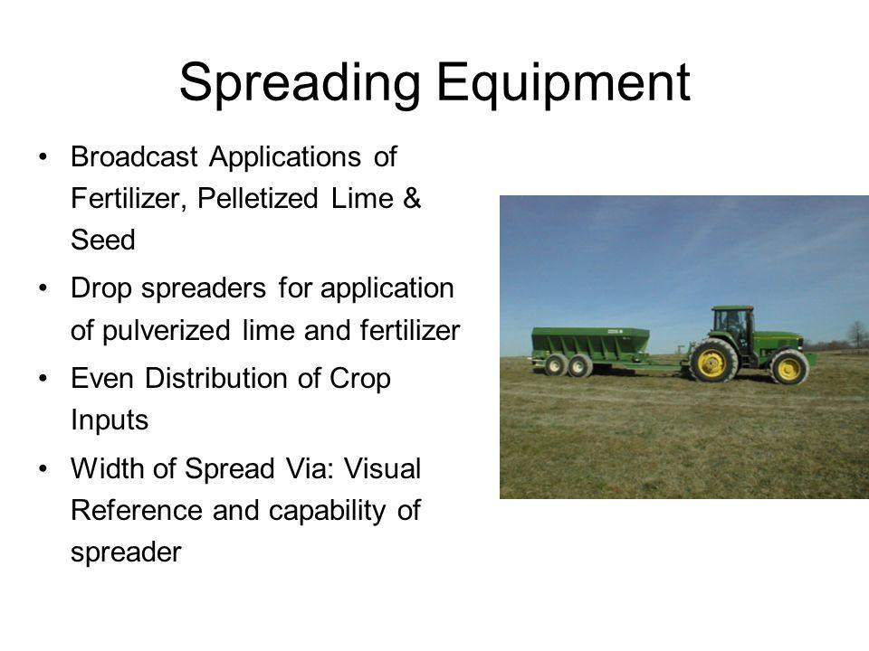 Spreading Equipment Broadcast Applications of Fertilizer, Pelletized Lime & Seed Drop spreaders for application of pulverized lime and fertilizer Even