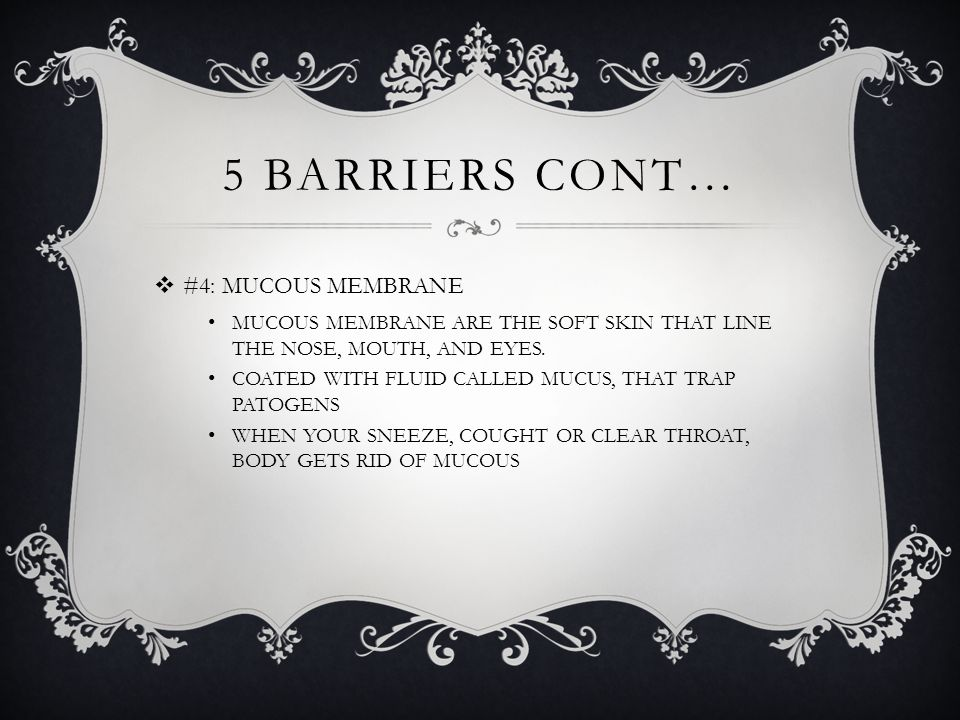 5 BARRIERS CONT…  #4: MUCOUS MEMBRANE MUCOUS MEMBRANE ARE THE SOFT SKIN THAT LINE THE NOSE, MOUTH, AND EYES.