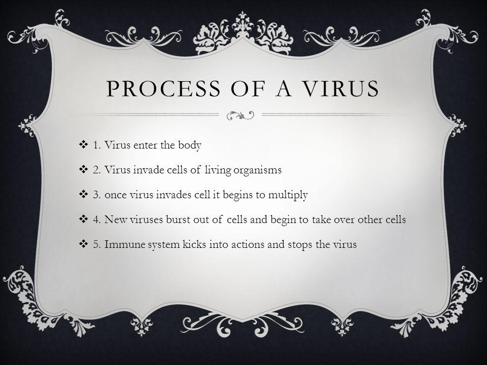 PROCESS OF A VIRUS  1. Virus enter the body  2.