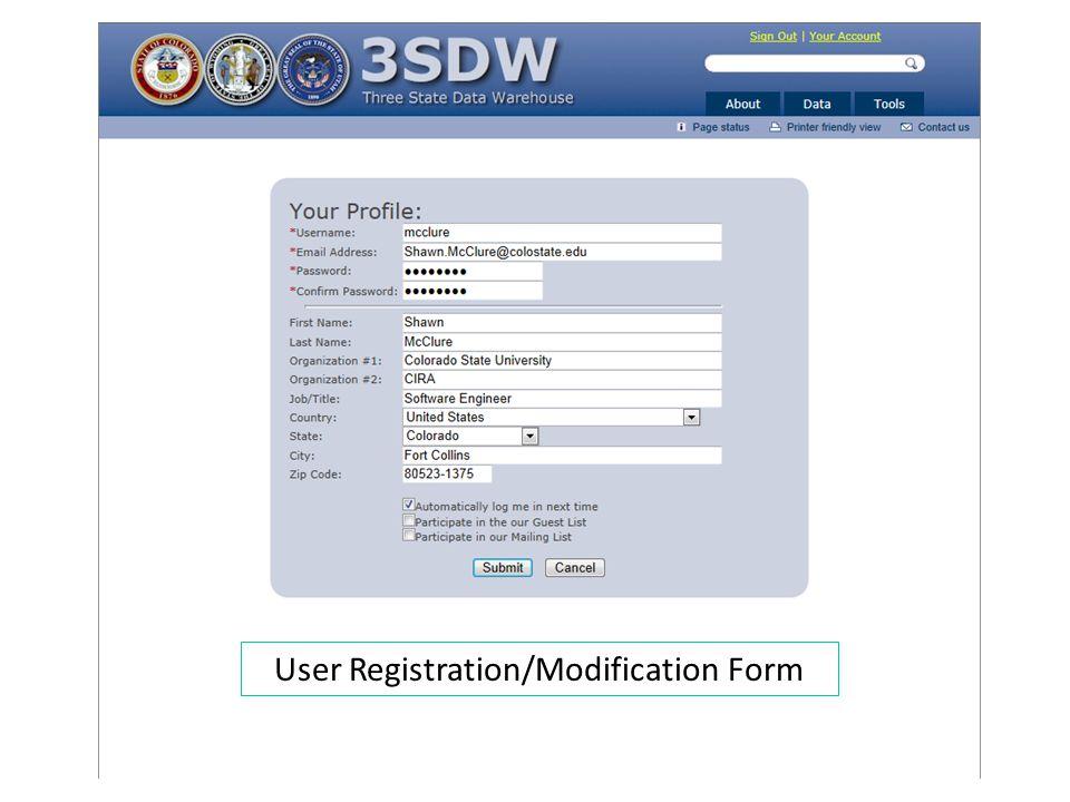 User Registration/Modification Form