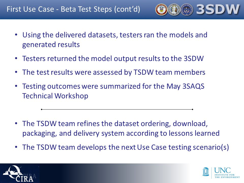 Using the delivered datasets, testers ran the models and generated results Testers returned the model output results to the 3SDW The test results were assessed by TSDW team members Testing outcomes were summarized for the May 3SAQS Technical Workshop The TSDW team refines the dataset ordering, download, packaging, and delivery system according to lessons learned The TSDW team develops the next Use Case testing scenario(s) First Use Case - Beta Test Steps (cont'd)