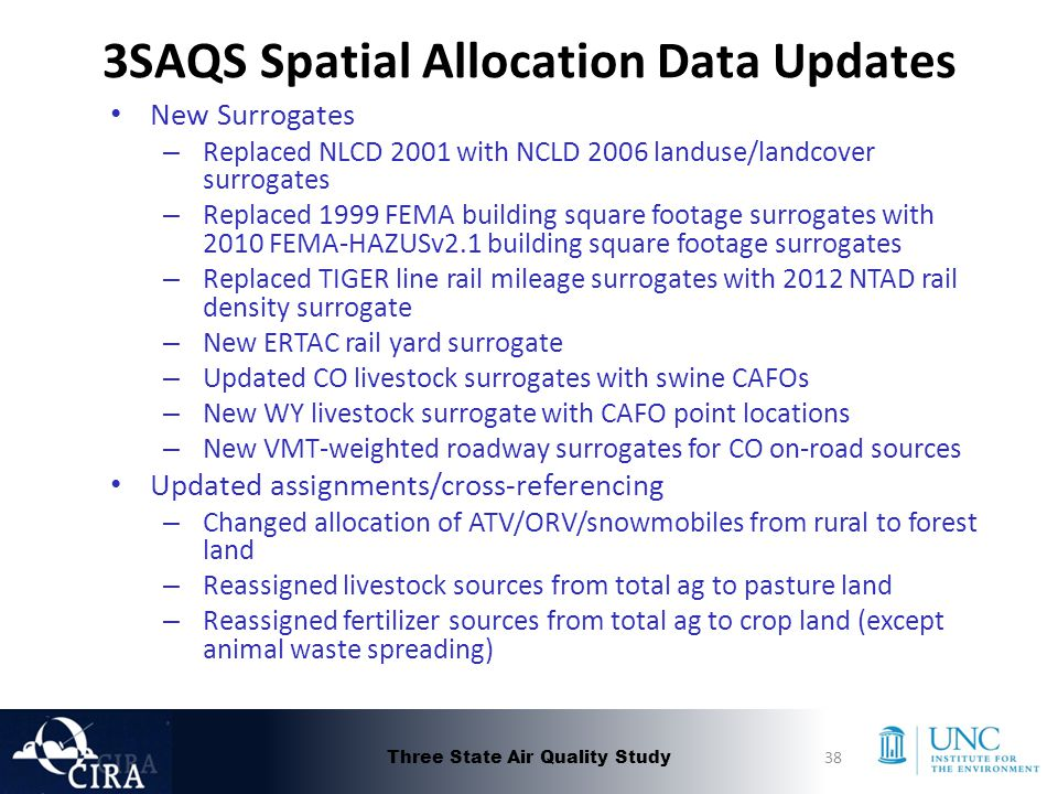 3SAQS Spatial Allocation Data Updates New Surrogates – Replaced NLCD 2001 with NCLD 2006 landuse/landcover surrogates – Replaced 1999 FEMA building square footage surrogates with 2010 FEMA-HAZUSv2.1 building square footage surrogates – Replaced TIGER line rail mileage surrogates with 2012 NTAD rail density surrogate – New ERTAC rail yard surrogate – Updated CO livestock surrogates with swine CAFOs – New WY livestock surrogate with CAFO point locations – New VMT-weighted roadway surrogates for CO on-road sources Updated assignments/cross-referencing – Changed allocation of ATV/ORV/snowmobiles from rural to forest land – Reassigned livestock sources from total ag to pasture land – Reassigned fertilizer sources from total ag to crop land (except animal waste spreading) Three State Air Quality Study38