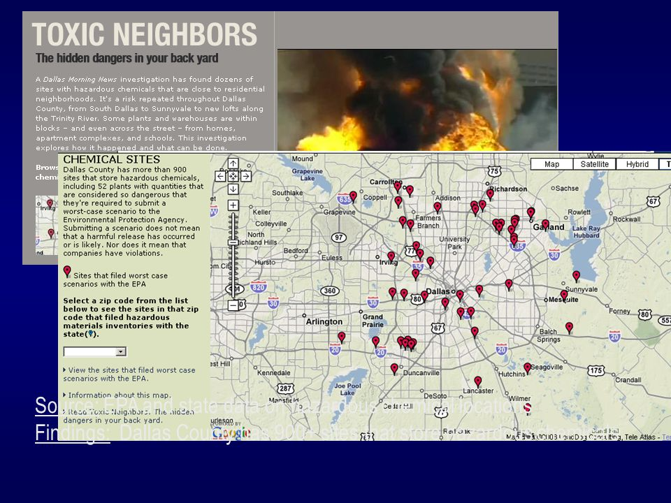 Source: EPA and state data on hazardous chemical locations Findings: Dallas County has 900+ sites that store hazardous chemicals