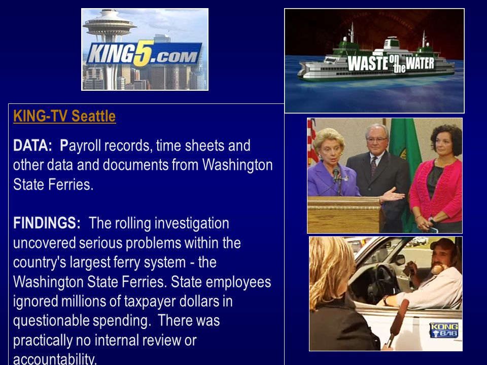 KING-TV Seattle DATA: P ayroll records, time sheets and other data and documents from Washington State Ferries.
