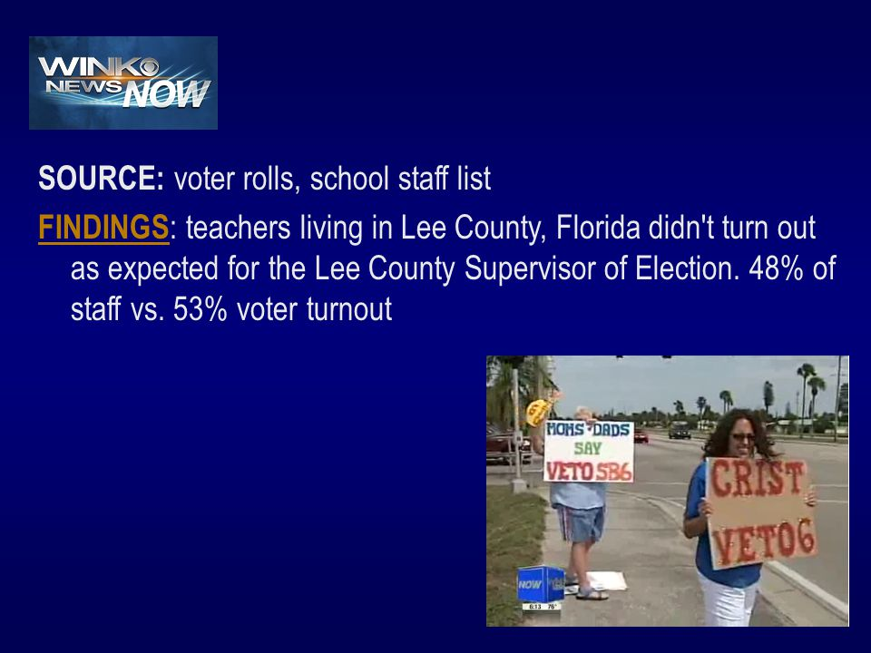SOURCE: voter rolls, school staff list FINDINGS FINDINGS : teachers living in Lee County, Florida didn t turn out as expected for the Lee County Supervisor of Election.