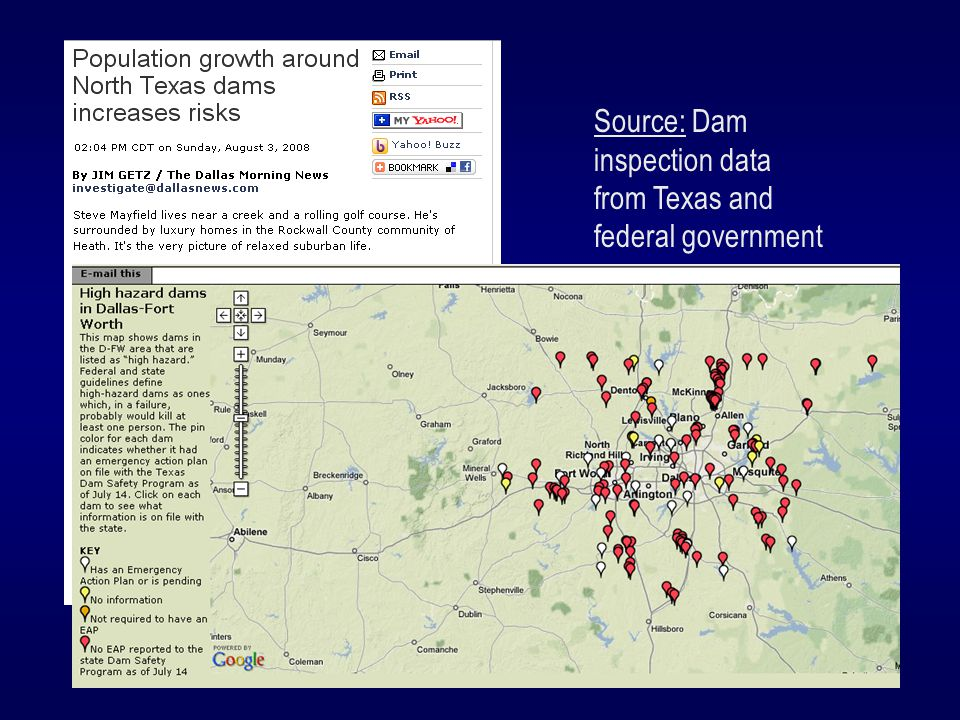 Source: Dam inspection data from Texas and federal government Findings: Dam records had not been updated to account for population growth