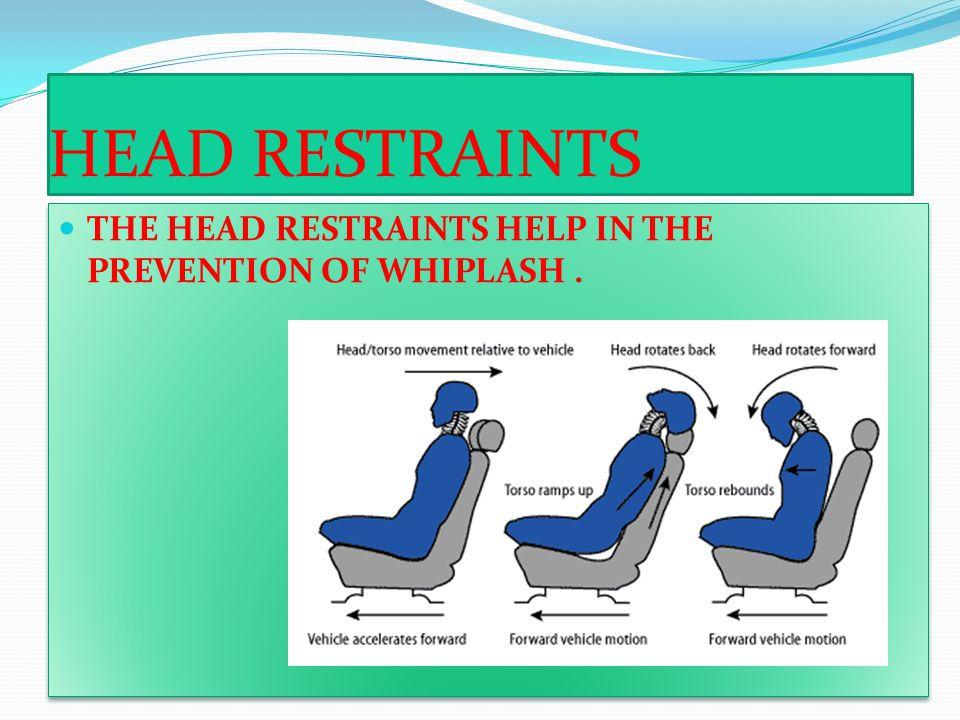 HEAD RESTRAINTS THE HEAD RESTRAINTS HELP IN THE PREVENTION OF WHIPLASH.