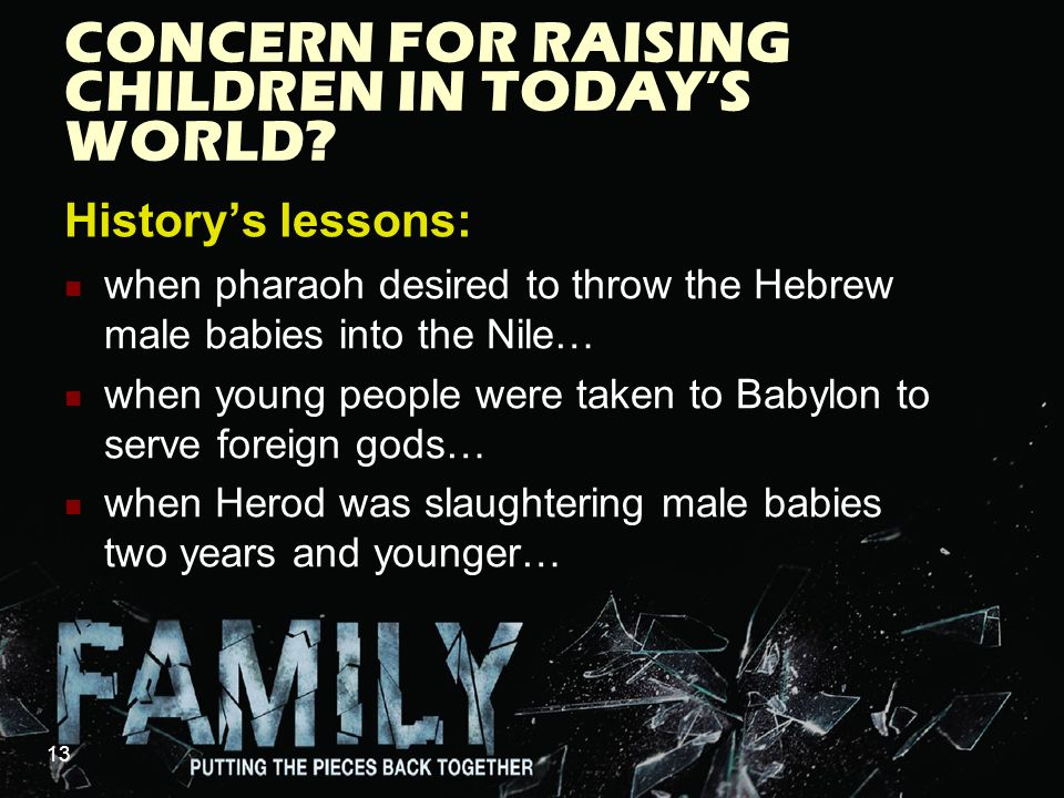 CONCERN FOR RAISING CHILDREN IN TODAY'S WORLD.