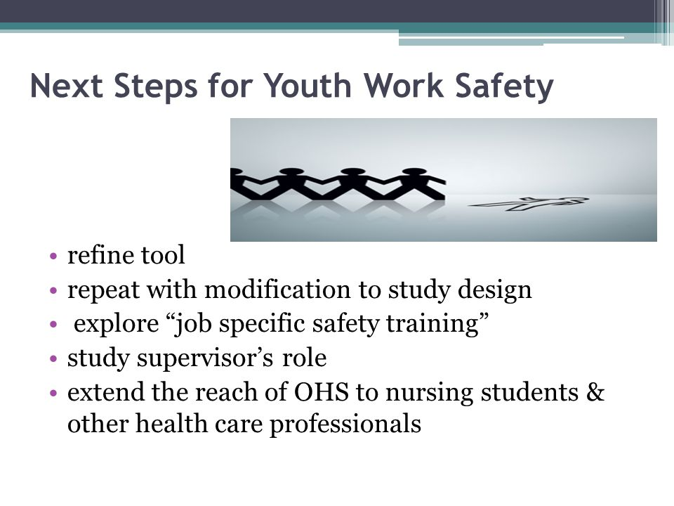 Next Steps for Youth Work Safety refine tool repeat with modification to study design explore job specific safety training study supervisor's role extend the reach of OHS to nursing students & other health care professionals