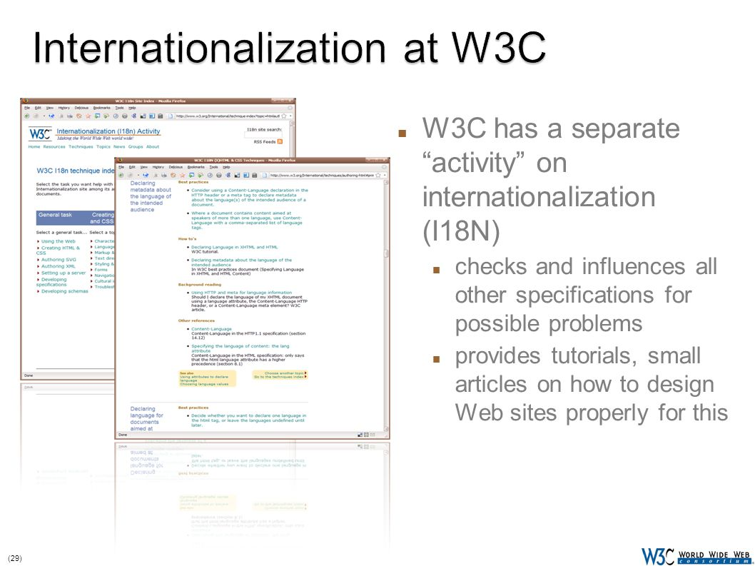 (29) W3C has a separate activity on internationalization (I18N) checks and influences all other specifications for possible problems provides tutorials, small articles on how to design Web sites properly for this 29