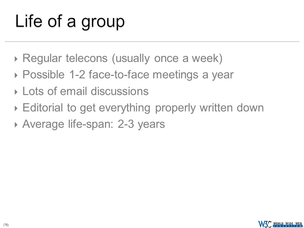 (76)  Regular telecons (usually once a week)  Possible 1-2 face-to-face meetings a year  Lots of email discussions  Editorial to get everything properly written down  Average life-span: 2-3 years