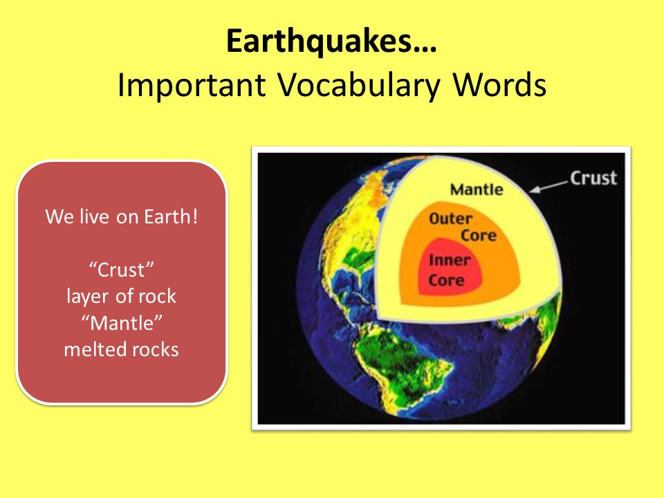 Earthquakes… Important Vocabulary Words We live on Earth.