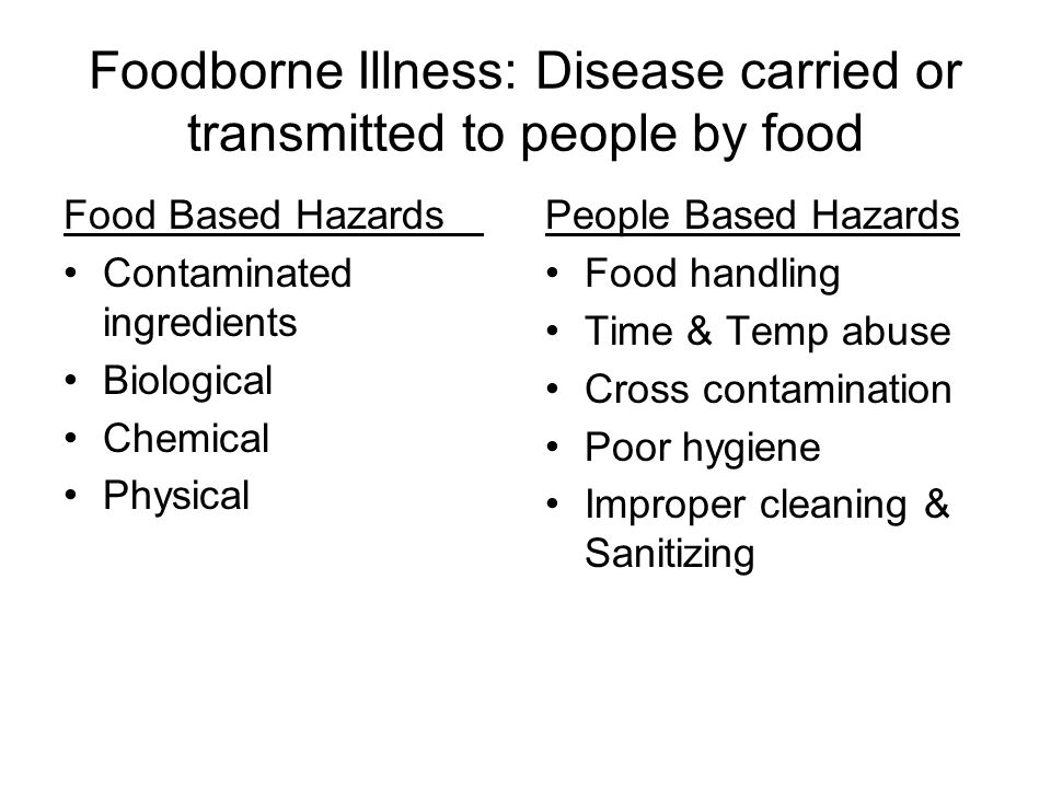Foodborne Microorganisms Salmonella: found on poultry & eggs Listerosis: found on deli/ ready to eat meats Botulism: found in improperly canned canned goods, baked potatoes, honey.