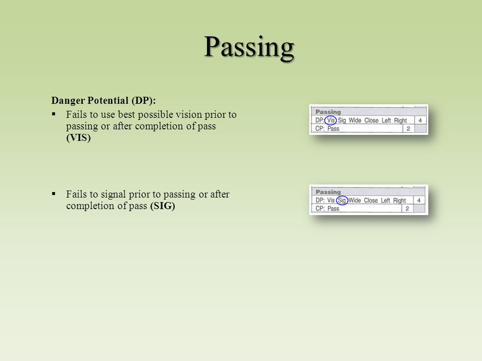 Passing Danger Potential (DP):  Fails to use best possible vision prior to passing or after completion of pass (VIS)  Fails to signal prior to passing or after completion of pass (SIG)