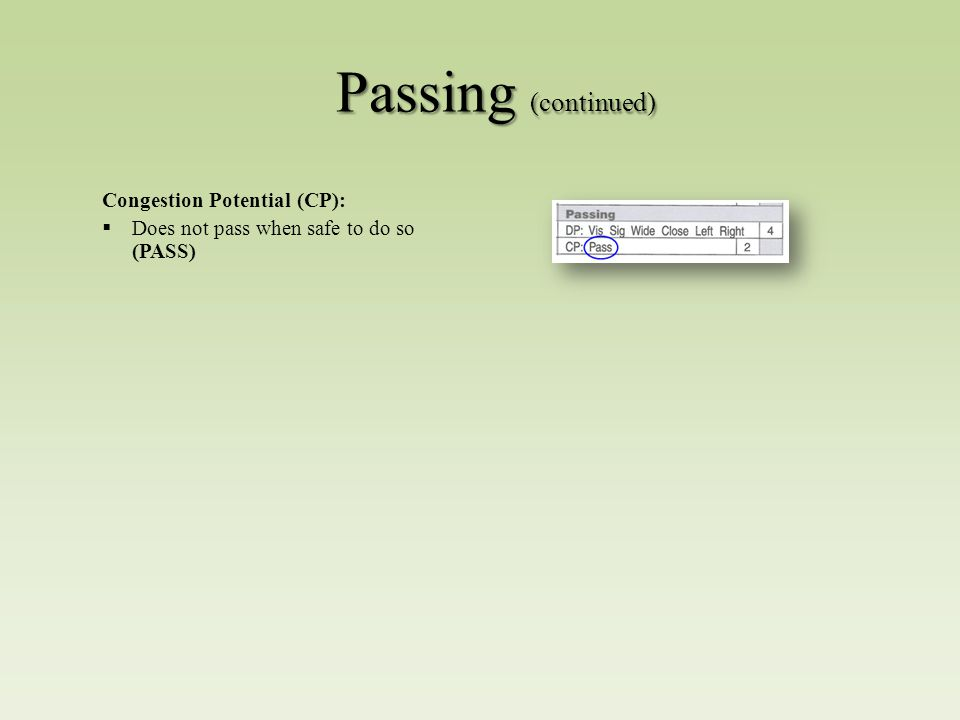 Passing (continued) Congestion Potential (CP):  Does not pass when safe to do so (PASS)
