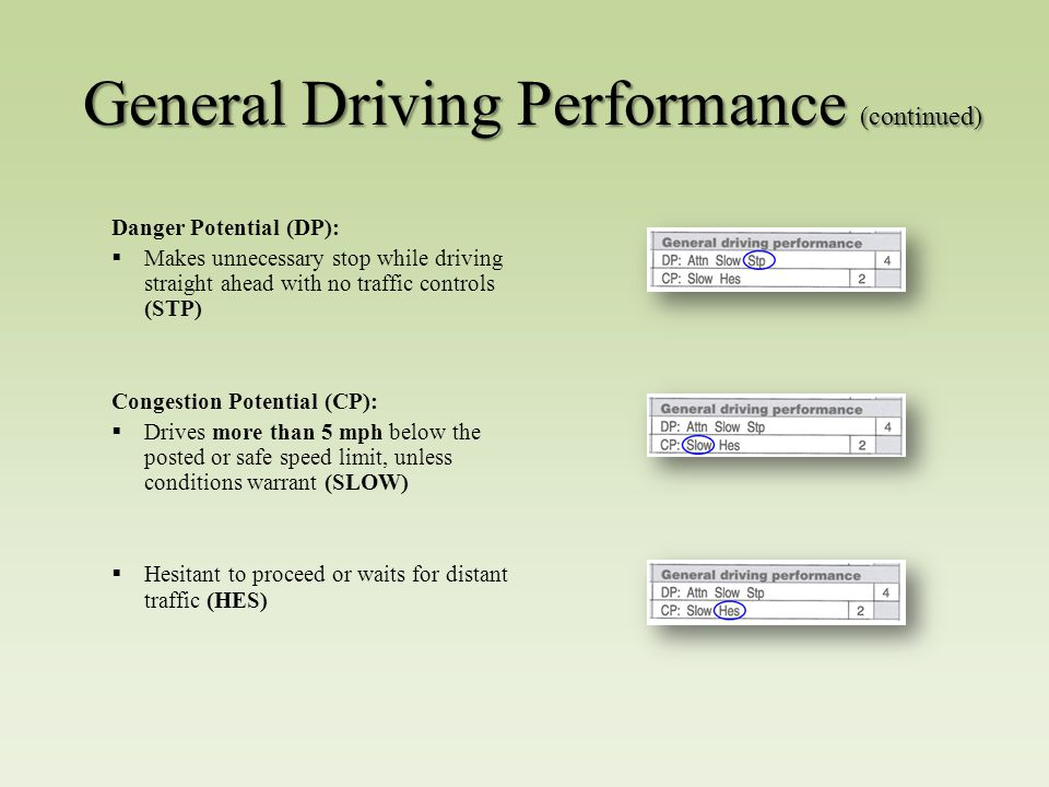 General Driving Performance (continued) Danger Potential (DP):  Makes unnecessary stop while driving straight ahead with no traffic controls (STP) Congestion Potential (CP):  Drives more than 5 mph below the posted or safe speed limit, unless conditions warrant (SLOW)  Hesitant to proceed or waits for distant traffic (HES)