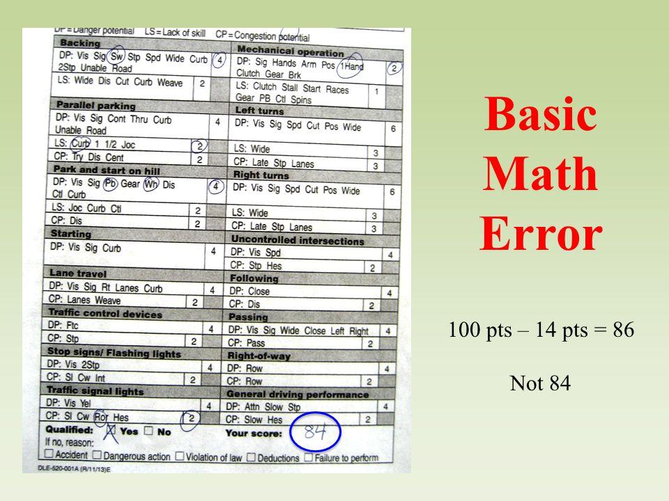 Basic Math Error 100 pts – 14 pts = 86 Not 84