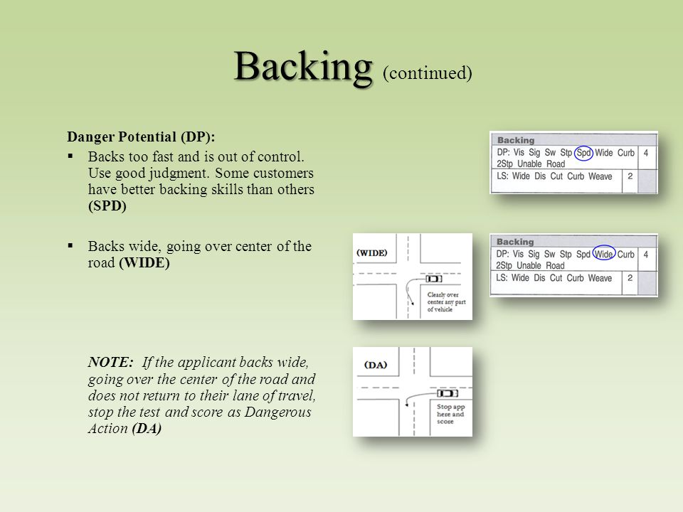 Backing Backing (continued) Danger Potential (DP):  Backs too fast and is out of control.