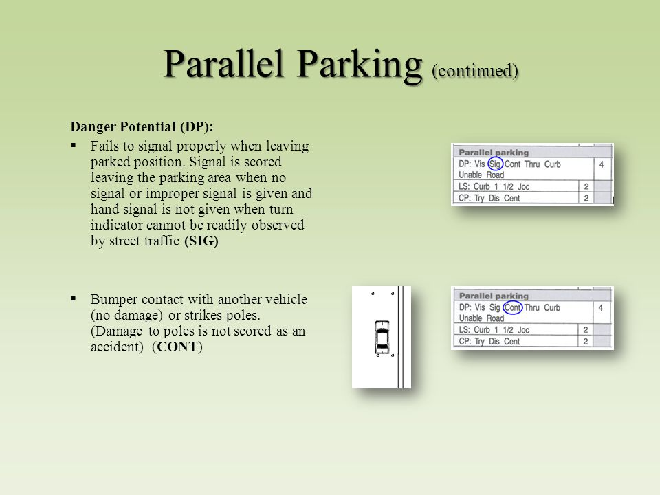 Parallel Parking (continued) Danger Potential (DP):  Fails to signal properly when leaving parked position.