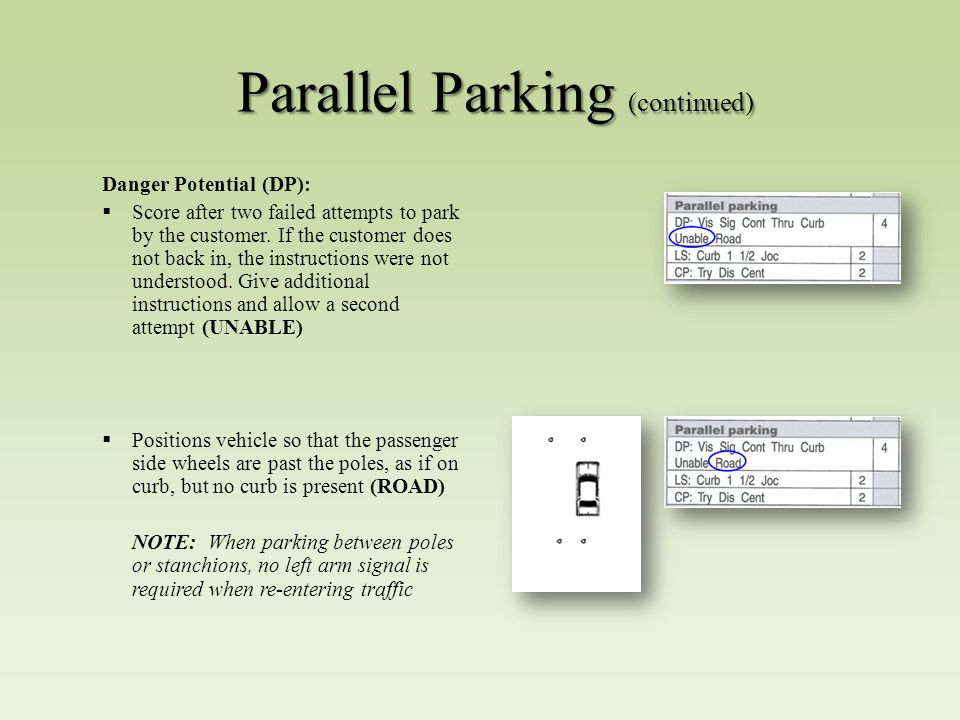 Parallel Parking (continued) Danger Potential (DP):  Score after two failed attempts to park by the customer.
