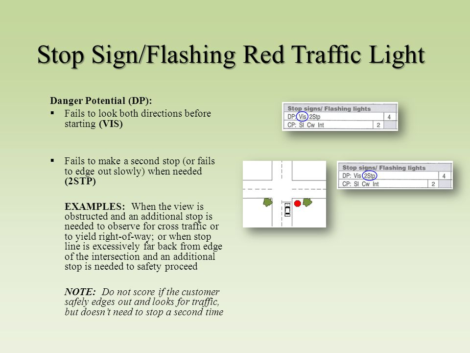 Stop Sign/Flashing Red Traffic Light Danger Potential (DP):  Fails to look both directions before starting (VIS)  Fails to make a second stop (or fails to edge out slowly) when needed (2STP) EXAMPLES: When the view is obstructed and an additional stop is needed to observe for cross traffic or to yield right-of-way; or when stop line is excessively far back from edge of the intersection and an additional stop is needed to safety proceed NOTE: Do not score if the customer safely edges out and looks for traffic, but doesn't need to stop a second time