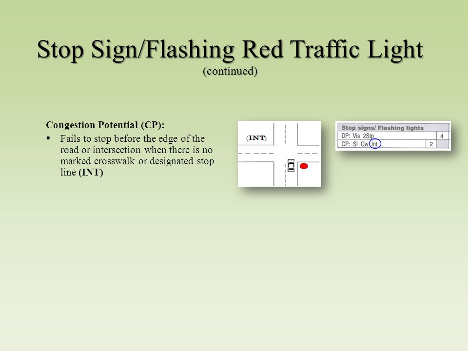 Stop Sign/Flashing Red Traffic Light (continued) Congestion Potential (CP):  Fails to stop before the edge of the road or intersection when there is no marked crosswalk or designated stop line (INT)