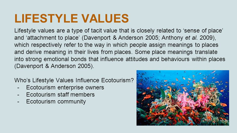 LIFESTYLE VALUES Lifestyle values are a type of tacit value that is closely related to 'sense of place' and 'attachment to place' (Davenport & Anderson 2005; Anthony et al.