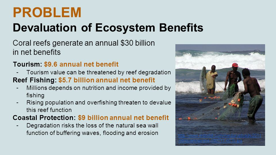 PROBLEM Devaluation of Ecosystem Benefits Coral reefs generate an annual $30 billion in net benefits Tourism: $9.6 annual net benefit -Tourism value can be threatened by reef degradation Reef Fishing: $5.7 billion annual net benefit -Millions depends on nutrition and income provided by fishing -Rising population and overfishing threaten to devalue this reef function Coastal Protection: $9 billion annual net benefit -Degradation risks the loss of the natural sea wall function of buffering waves, flooding and erosion http://www.redorbit.com/media/uploads/2011 /09/sciencepress-092711-001b.jpg