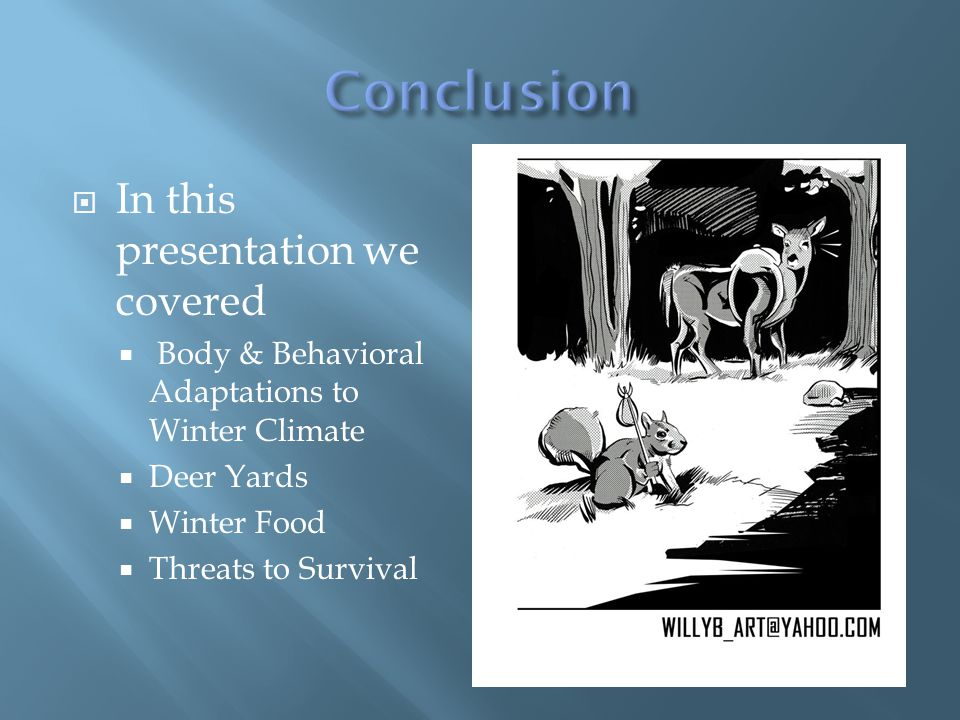 In this presentation we covered  Body & Behavioral Adaptations to Winter Climate  Deer Yards  Winter Food  Threats to Survival