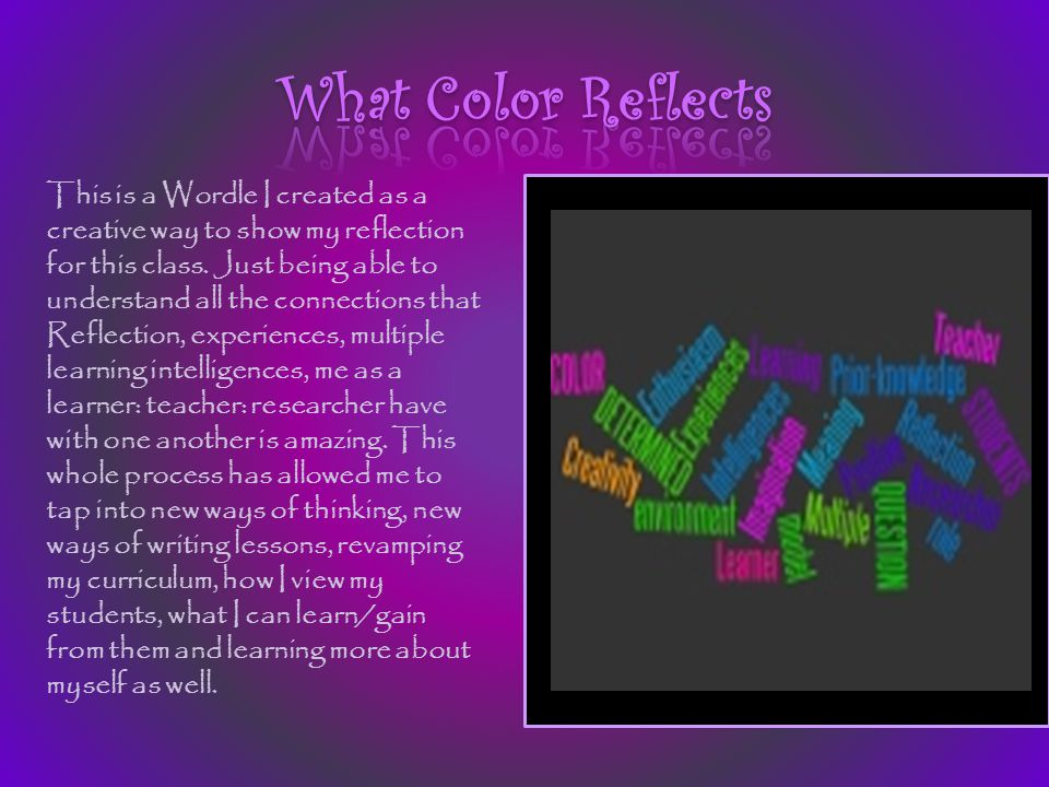 This is a Wordle I created as a creative way to show my reflection for this class. Just being able to understand all the connections that Reflection,