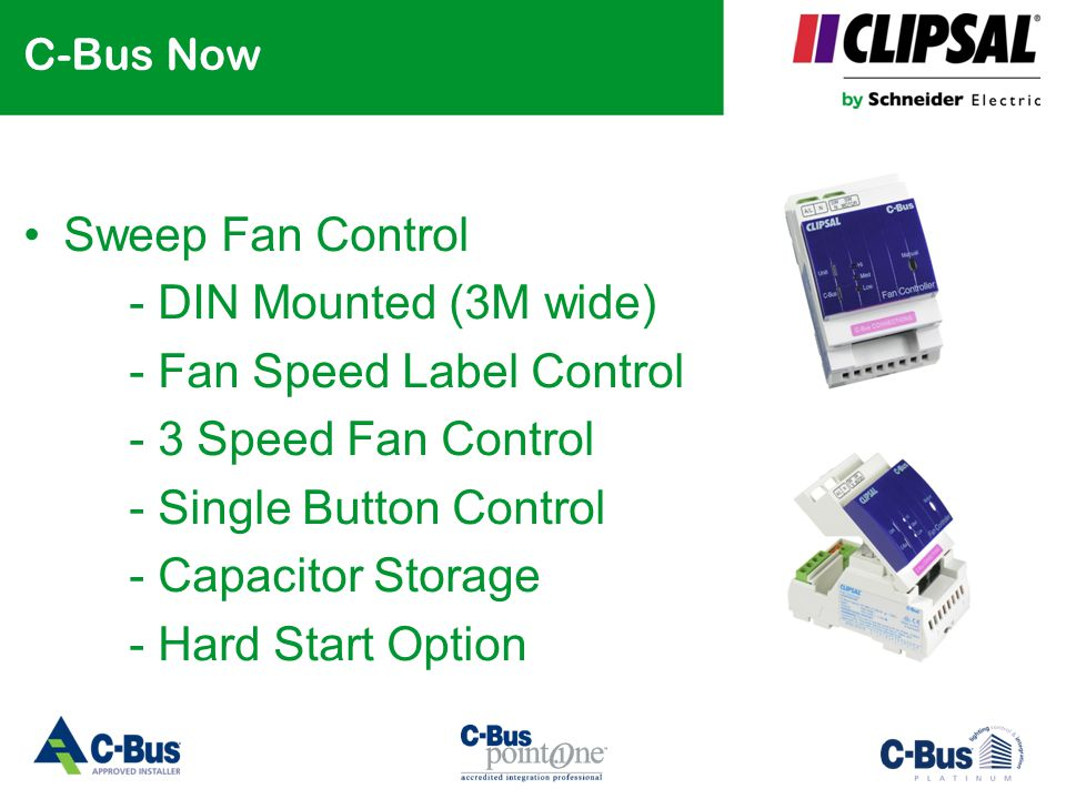 C-Bus Now Sweep Fan Control - DIN Mounted (3M wide) - Fan Speed Label Control - 3 Speed Fan Control - Single Button Control - Capacitor Storage - Hard