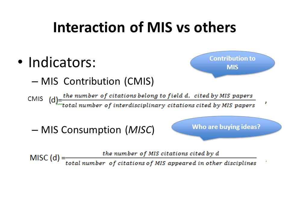 Interaction of MIS vs others Indicators: – MIS Contribution (CMIS) – MIS Consumption (MISC) Contribution to MIS Who are buying ideas.